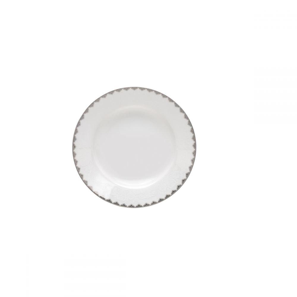 Jogo De Jantar Porcelana Bone China Minsk Prateado Wolff 42 Peças