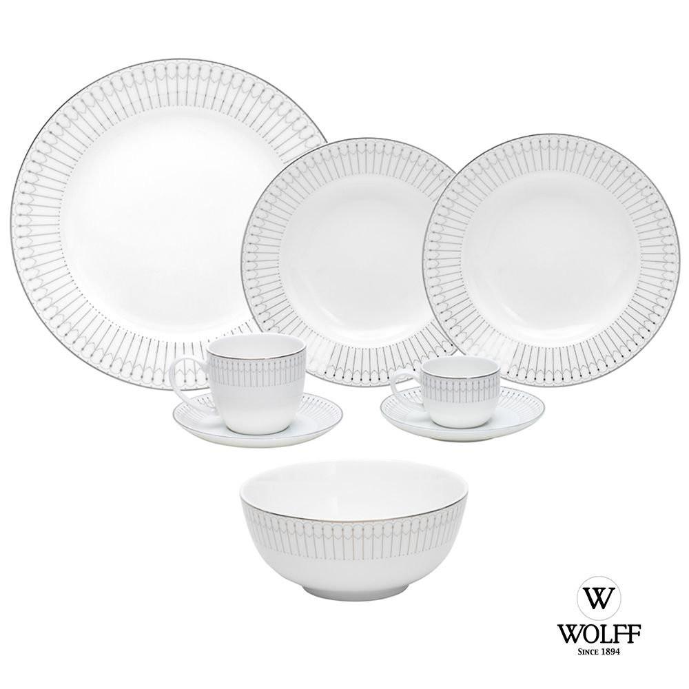 Aparelho De Jantar Porcelana Bone China Kiev Wolff 48 Peças