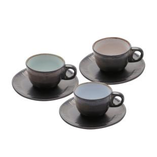 Jogo 6 Xícaras Para Cafe Cerâmica Marrom Bon Gourmet 90 ml