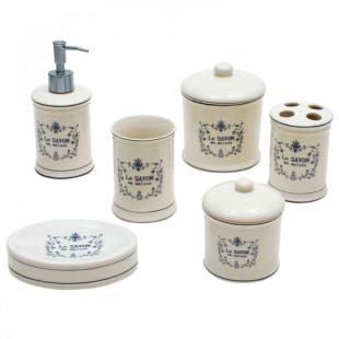 Jogo De Banheiro 6 Peças Cerâmica Le Savon