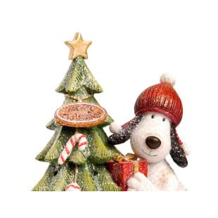 Cão Noel Decorando Pinheiro