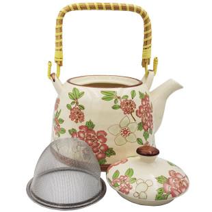 Chaleira De Cerâmica Teapot Rosa Verde 800 Ml