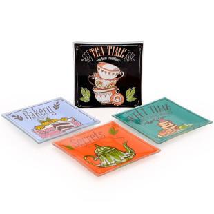 Conjunto 4 Petisqueiras Quadrada Tea Time