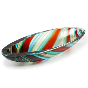 Centro De Mesa Cristal Canoa Com Bastões Coloridos E Fios Murano