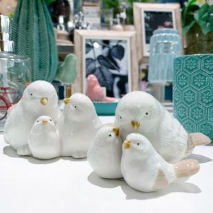 Estatueta Pássaros Decorativos Em Cerâmica