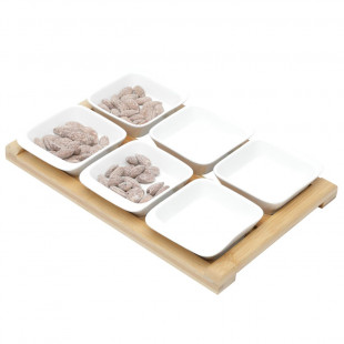 Conjunto 6 Petisqueiras De Porcelana Com Tábua De Bambu