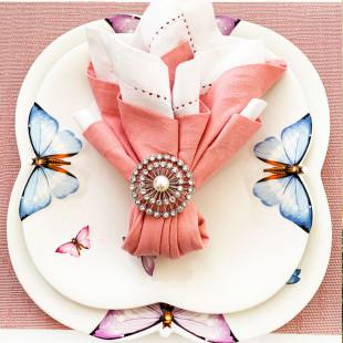 Conjunto 6 Pratos Rasos De Porcelana Borboleta Wolff