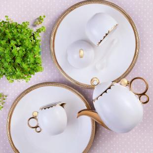 Conjunto 3 Peças Para Café De Porcelana Egg Wolff