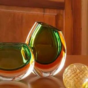 Vaso De Cristal Verde Com Âmbar Murano