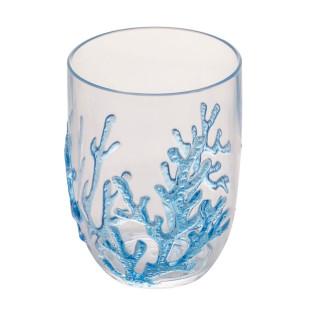 Jogo 6 Copos Baixos De Acrílico Coral Azul 465ml Bon Gourmet