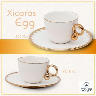 Jogo 6 Xícaras Para Café Porcelana Egg Wolff