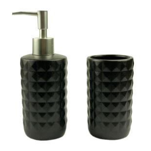Jogo De Banheiro 2 Peças Cerâmica Black
