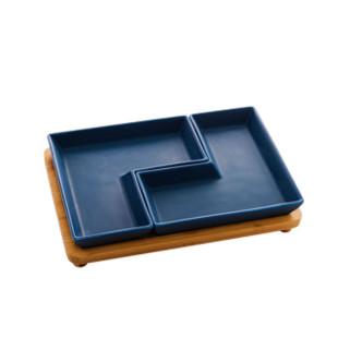 Jogo de Petisqueiras Cerâmica Azul Hexagon Bon Gourmet