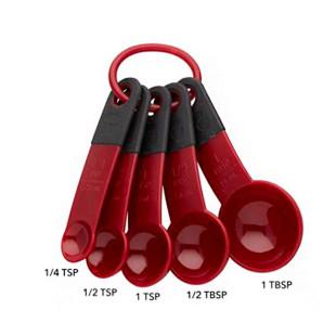 Jogo 5 Colheres Medidoras Vermelhas Kitchenaid