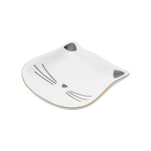 Porta Anéis Em Cerâmica Cat Face Branco