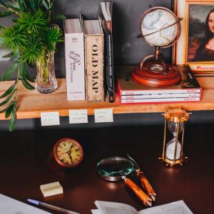 Relógio  de Mesa Decorativo Escritório Metal Lascelles London