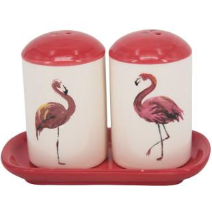 Jogo Saleiro e Pimenteiro Flamingo Cerâmica