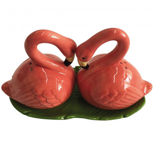 Jogo Saleiro e Pimenteiro Flamingo Porcelana