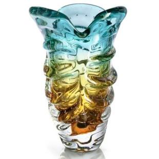 Vaso De Cristal Estilo Murano Verde e Âmbar São Marcos