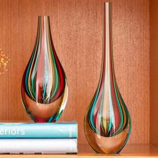 Vaso De Cristal Gota Color Murano Cadoro