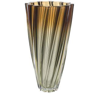 Vaso De Cristal Scallop Âmbar Bohemia