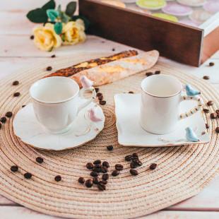 Xícara de Café Porcelana Birds Round Plate Wolff 6 Pçs