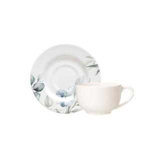Aparelho De Jantar Cerâmica Aquarelle Eucalipto 30 Peças
