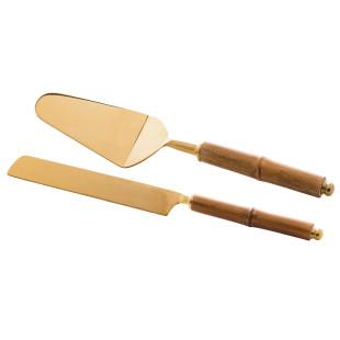 Conjunto 2 Peças Para Bolo Aço Inox e Bambu Dourado Wolff