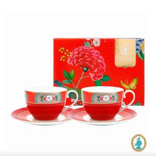 Conjunto 2 Xícaras De Chá Blushing Birds Vermelha Pip Studio
