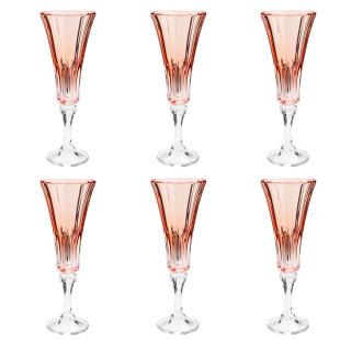 Jogo 6 Taças De Champagne Cristal Wellington Rose Quartz Bohemia 180 Ml