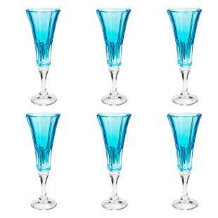 Jogo 6 Taças Para Champagne Wellington Azul Claro Bohemia 180Ml