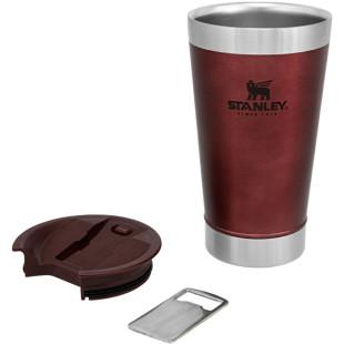 Copo Térmico Para Cerveja Stanley Pint Inox Com Abridor Hammertone Crimson 473 Ml