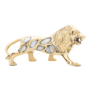 Estatua Decorativa Leão Madrepérola