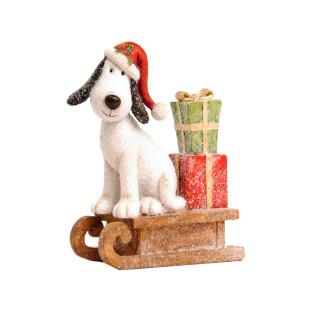 Cão Noel Com Gorro Sentado No Trenó De Resina