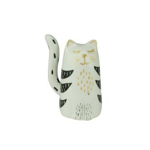 Estatueta Gato Branco Decorativo Em Cerâmica