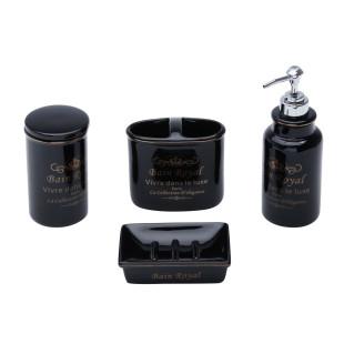 Jogo De Banheiro 4 Peças Cerâmica Royal Preto