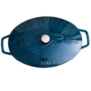 Frigideira Oval com Tampa Gravura Peixe Ferro Fundido 32 cm La Mer Mar Turquesa Staub