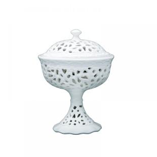 Bomboniere De Cerâmica Renda Branca