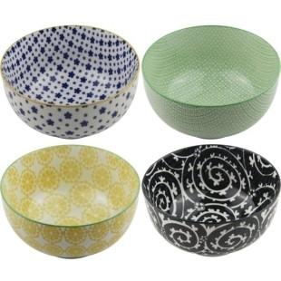 Conjunto  De Bowls De Porcelana Estilo Portuguesa Com 4 Peças 13 cm Coloridos