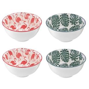 Conjunto De Bowls De Porcelana Flamingo Caribe Com 4 Peças