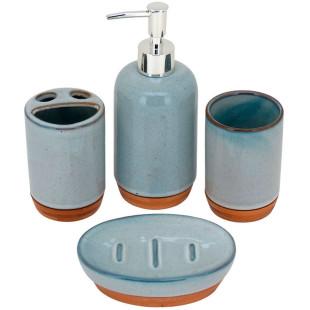 Jogo de Banheiro Dom Fafe Cerâmica Azul 4 Pçs