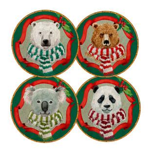 Jogo 4 Pratos De Sobremesa Christmas Bears Maison Blanche