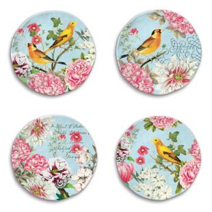 Jogo 4 Pratos De Sobremesa Garden Melody Melamina Michel Design Works