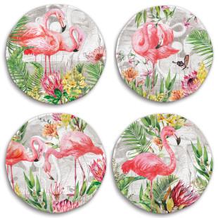 Jogo 4 Pratos De Sobremesa Melamina Flamingo Michel Design Works