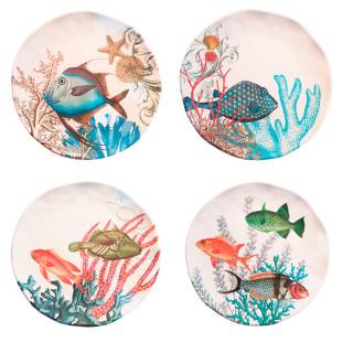 Jogo 4 Pratos De Sobremesa Sea Life Melamina Michel Design Works