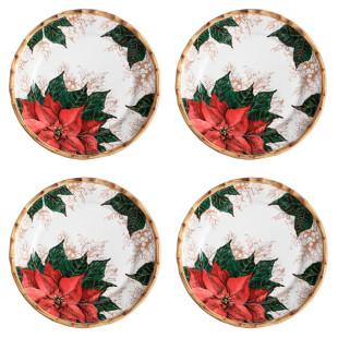 Jogo 4 Pratos Rasos Christmas Flowers Maison Blanche