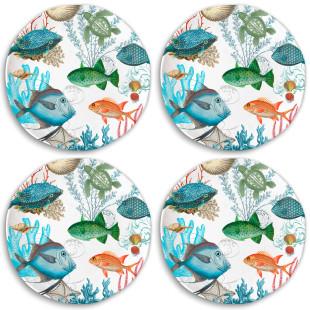 Jogo 4 Pratos Rasos De Jantar Sea Life Melamina Michel Design Works