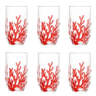 Jogo 6 Copos De Acrílico Coral Vermelho 650ml Bon Gourmet