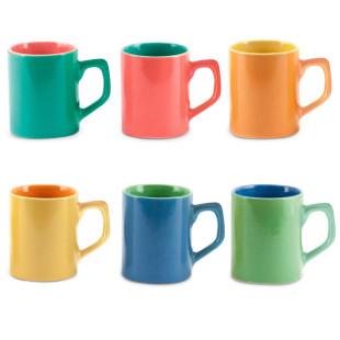 Jogo 6 Mini Canecas De Café Coloridas De Cerâmica