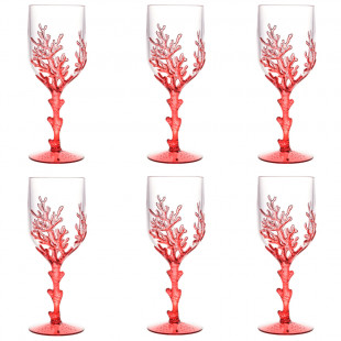 Jogo 6 Taças De Acrílico Coral Vermelho 450ml Bon Gourmet